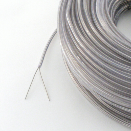 Kabel, 2x0,75mm², rund, transparent